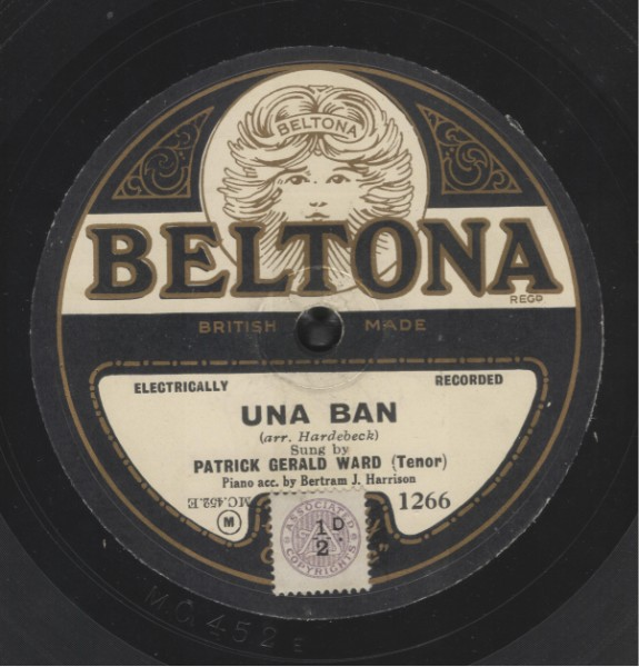 Recorded with Bertram J. Harrison, piano, and unknown violinist in London. August 1927